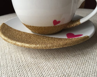 Glitter Dipped Tea Cup and Saucer //coffee cup