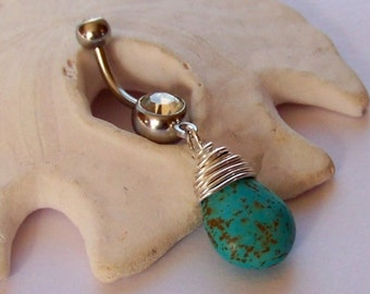 Belly Button Ring - Body Jewelry - Navel Piercing - Dainty Sterling Silver Wire Wrapped Magnesite Genuine Gemstone Drop