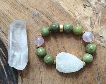 Green Garnet Bracelet / Druzy Bracelet / Rose Quartz Bracelet / Bohemian Bracelet / Stack Bracelet