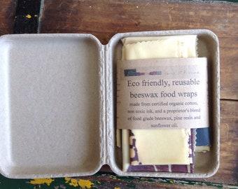 Beeswax wraps, organic cotton beeswax wraps, zero waste kitchen zero waste lunch, reusable packaging, non plastic, eco friendly gift