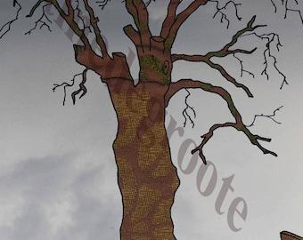 Map, tree, trumpet, greeting card, illustration