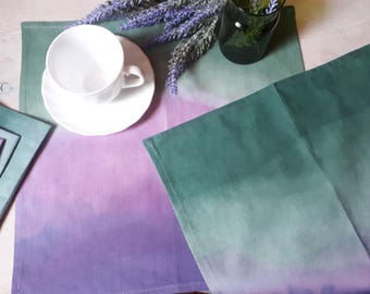 Hand dyed napkins, set of 6, purple-pink- green ombre gradient cotton napkins, housewarming gift, mothers day gift