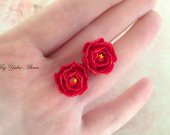 The earrings with little peonies, Flowers peonies, Red peony, Bright peony, Miniature peony, Red peony