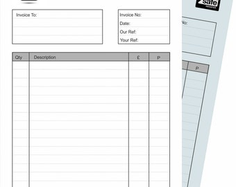 Personalised Carbonless 2 part - white & Blue NCR Invoice Pads A5 148mm x 210mm