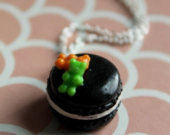 Ghoulish Black Macaron Topped With Gummy Bears Necklace/ Halloween Dessert Jewelry/ Fall Flair