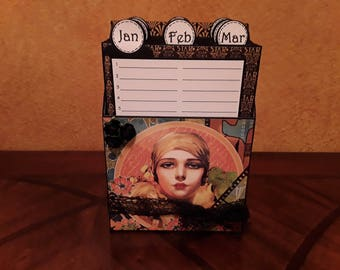Perpetual Calendar Box / Dates To Remember / Birthday Anniversary Box --  In stock ready to ship