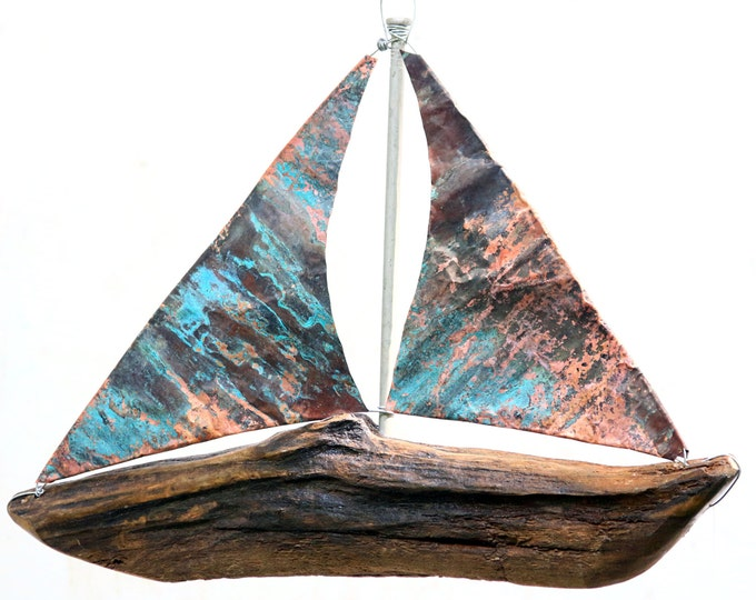 Reclaimed Driftwood Sailboat, Handmade Wooden Model Ship, Beachy Boat Sailing Sailor Prop, Sail Away With Me, Drift Wood Centerpieces Copper