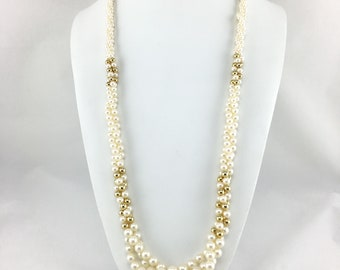 Vintage Multistrand Faux Pearl Necklace, Gold Beads, Twisted, Torsade, Hidden Clasp, 1980s