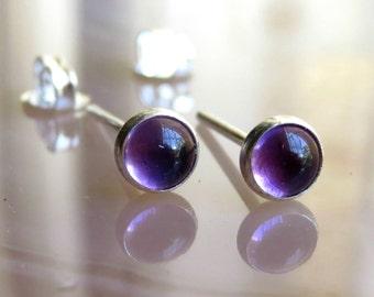 Natural Amethyst Stud Earrings / Purple Gemstone Studs / Everyday Earrings / Small Studs