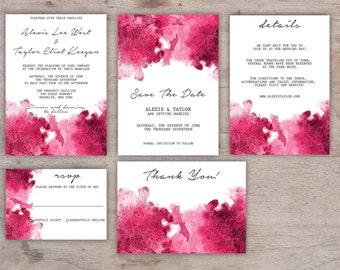 Watercolor wedding invitation, Wedding Invitation template, Printable Wedding Invitation set, Pink Wedding invitation, Watercolor invitation