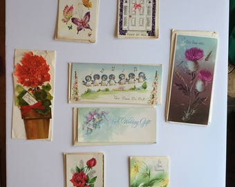 Unused Vintage Greeting Cards  - collection of 8 with envelopes