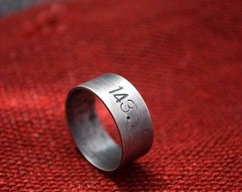 143 (I Love You): sterling silver numerical message smooth band - personalized/unisex ring