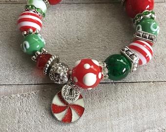 BRIGHT Chunky Christmas Bracelet, Holiday Accessory, Secret Santa Gift, Stocking Stuffer