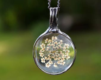 Earthy Jewelry, Queen Anne's Lace Necklace, Boho Jewelry, Cottage Chic, Gift for Sister, Sisters, Simple Necklace, Organic Jewelry (2777)