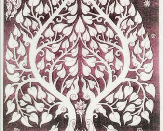 Thai traditional art of Bodhi tree by printing on Natural colors cloth