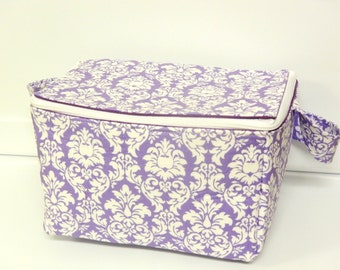 Super Large 6 inch Depth Fabric Coupon Organizer  - With Zipper Closer  Mini Lavender Damask