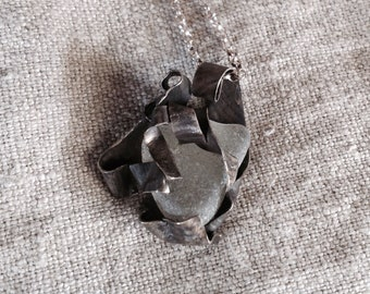 "Caged seaglass pendant on 36"" sterling rolo chain (oxidized)"