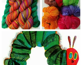 """ERIC CARLE Inspired """"Very Hungry Caterpillar"""" on Super Sock. 500 Yards. Ready to Ship."""