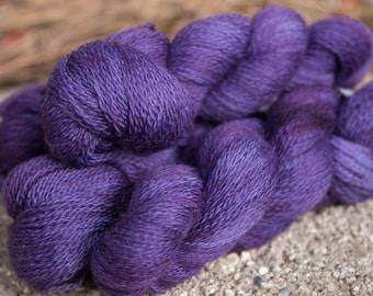 Merino Lace Weight 2 Ply Kettle dyed purple 200 Yards Knitting Crochet