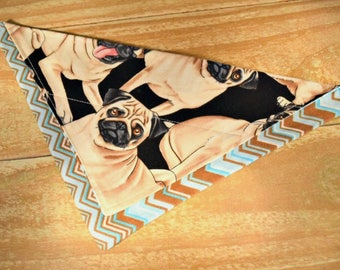 Pug Dog Stripes Slip Through Collar No Tie Pet Bandana