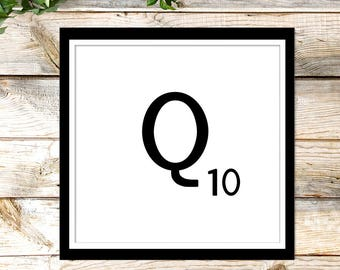Printable Scrabble Letter Q, Scrabble Wall Art, Instant Download, Printable Art, Printable Print, Alphabet Wall Words, Personalize Word Art