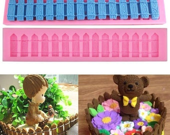 Fence Garden Picket Silicone Mould Sugarcraft Cup Cake Card Topper Chocolate