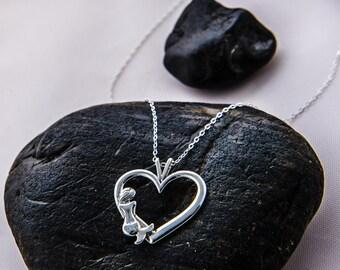Mermaid Necklace, Mermaid  Pendant, Heart Pendant, Mermaid Life, Mermaid Heart Pendant, Sterling Silver Mermaid Jewelry, Gift For Her