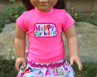 4 piece set Neon Pink Happy Birthday Girl doll clothes 18 inch American doll clothes 18 doll shoes, doll glitter headband