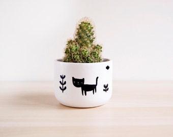 Ceramic cat plant pot, Ceramic cat planter, Succulent planter, Ceramics & pottery, Flower plant pot, Planter flower pot, Cute clay plant pot