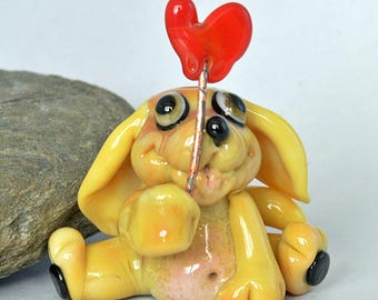 DOG with Red Heart Dog Glass Bead,  lampwork glass bead, whimisical lampwork focal bead, Izzybeads SRA