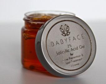Bye-Bye Acne! Babyface Organic 2% Salicylic Acid Gel Acne & Blackhead Remover Spot Treatment, 2.3 oz.