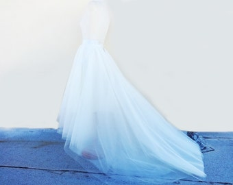 WEDDING SKIRT with TRAIN /Robe de mariée /High-Low Assymetrical White Tulle/ Custom/ with Satin Lining Bridal Separates