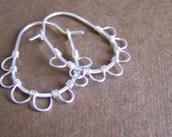 Sterling Silver Oval Hoop Earrings, Wire Wrapped Sterling Silver Earings, Boho Style Hoop Earrings