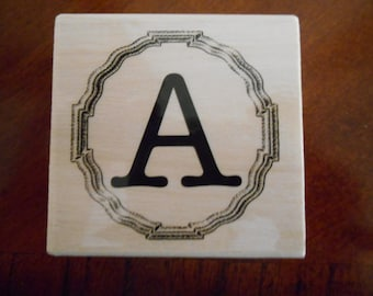 Mongram Letter A Rubber Stamp, Wood mounted, Brand new