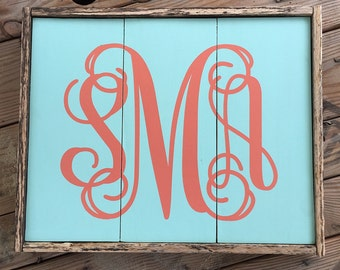 Monogrammed Hand Painted Reclaimed Wooden Sign