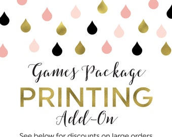 Printing Add-On for Any Games Package in the Shower That Bride Shop