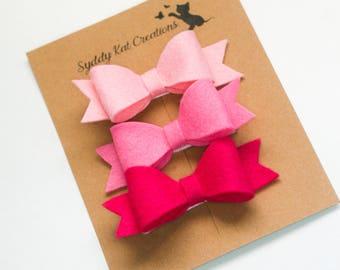 Hair Bows, Pink Bows, Felt Bows, Hair Clips, Bow Set, Baby Bow Headband, Valentine's Day Headband, Ready to Ship
