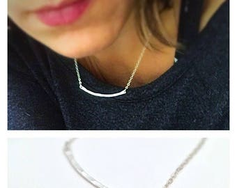 Dainty Silver Bar Necklace - Curved Bar Chain - Sterling Silver Layering Necklace - Minimalist Jewelry - Delicate Hammered Bar Necklace
