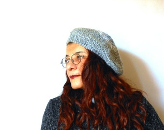 chunky knitted tam, knit beanie wool and silk blend handmade, chunky knit beret grey melange by cosediisa