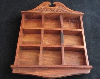 Walnut Shadow Box Vintage 1960's Curio Shelf