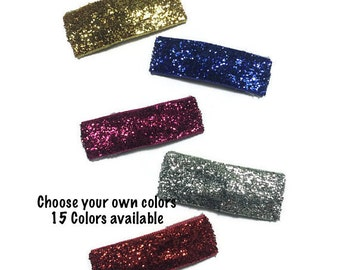 25- 50mm Glitter Clips, Glitter Snap Clips, 50mm Snap Clips, Glitter Hair Clips, Ribbon Hair Clips, Handmade Clips, Girls Accessories