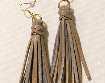 Silver/Gold Metallic Tassel Earrings