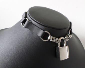 Plain PU Leather Panel Box Padlock Choker - Discrete Locking Gothic Day Necklace