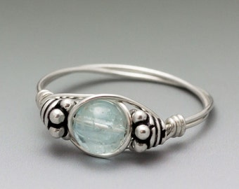 Blue Topaz Bali Sterling Silver Wire Wrapped Gemstone Bead Ring - Made to Order, Ships Fast!