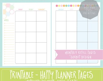 HAPPY PLANNER PRINTABLE Monthly Planner Refills / Inserts - 7 x 9.25   Sorbet   Create 365   Me & My Big Ideas   mambi   Undated   Monday