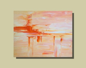 Abstract contemporary art modern painting in pastel coral and bold orange
