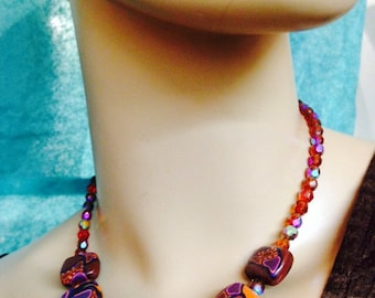 Polymer clay and Swarovski neklace iridescent ceystals brown orange purple squares handmade one of a kind necklace