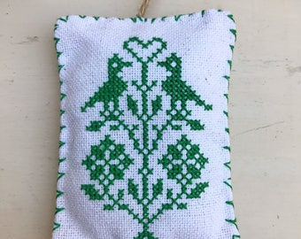 Handmade Cross Stitched Primitive Two Birds in a Tree Country Christmas Ornament