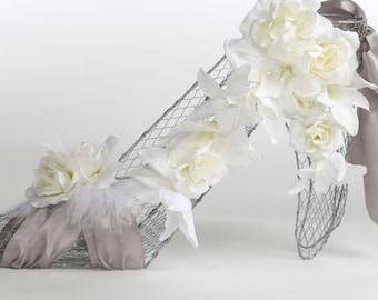 SALE 2018- Bridal Shower Centerpiece, Wire Form Decoration, Silver shoe Decoration Centerpiece