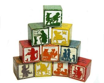 Ten Wood Nursery Rhyme Children's Blocks